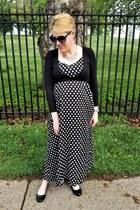 black maxi polka dot Romacci dress - black wrap eShakti top