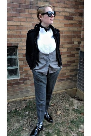 white tuxedo asos shirt - black moto Forever 21 jacket