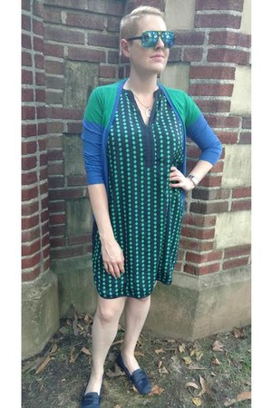 navy printed ava dress - green color block JCrew cardigan - navy Zara loafers
