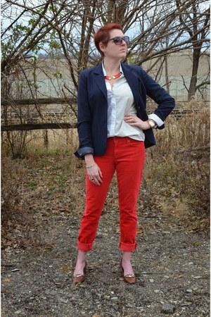 red corduroy Gap pants - navy JCrew blazer - light blue patchword Uniqlo shirt
