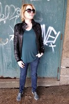 black leather moto Guess jacket - navy maternity Old Navy jeans
