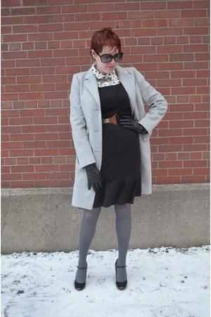 heather gray JCrew coat - black sleeveless Le Tote dress