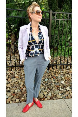 navy novelty-print Anthropologie blouse - light purple Gap blazer