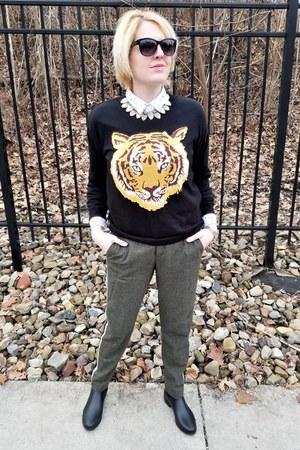 black tiger asos sweater - brown side-striped Zara pants