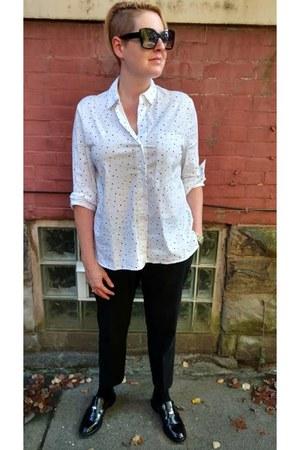 white polka dot Zara shirt - black Uniqlo pants - black penny Zara loafers
