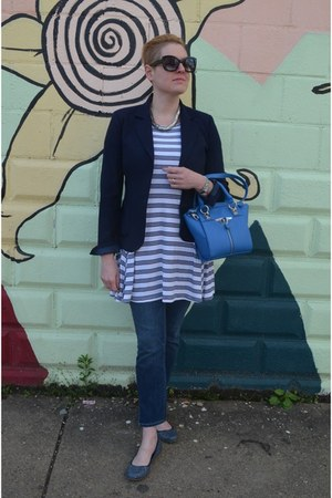 navy JCrew blazer - cream striped Old Navy dress
