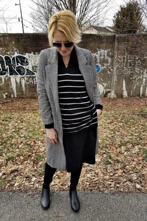 brown plaid H&M coat - black shift eShakti dress
