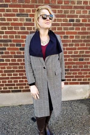 brown plaid H&M coat - navy drapey Zara cardigan - ruby red tunic modcloth top