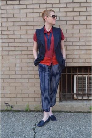 navy pinstripes JCrew pants - brick red color block BCBGeneration blouse