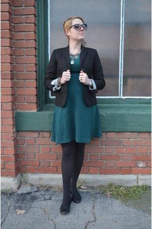 black Gap blazer - turquoise blue knit Le Tote dress