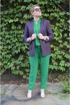 deep purple Diane Von Furstenberg blazer - green modcloth blouse