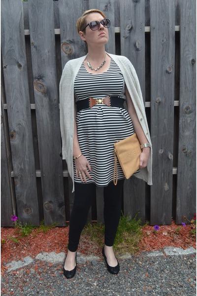 black maternity Target leggings - cream striped JCrew dress
