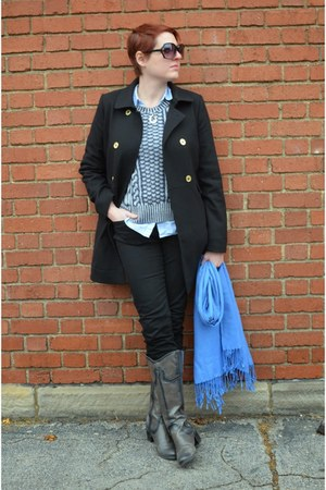 black H&M coat - heather gray GHBass boots - black Zara jeans