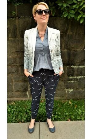 white Anthropologie blazer - blue chambray modcloth top