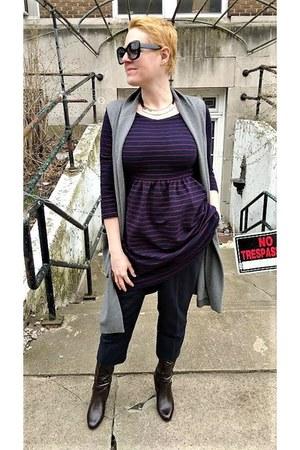 purple striped Anthropologie dress - gray sweater Mango vest