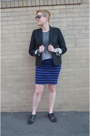 black Gap blazer - blue striped Forever 21 skirt