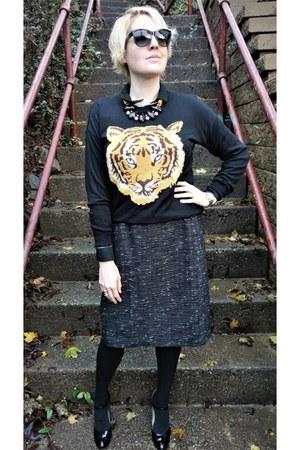 black tiger asos sweater - black tweed ann taylor skirt