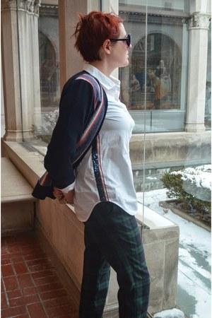 white side stripe JCrew shirt - brown duck boots l l bean boots