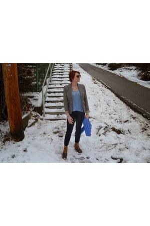 silver Chloe  Isabel necklace - light brown tweed JCrew blazer