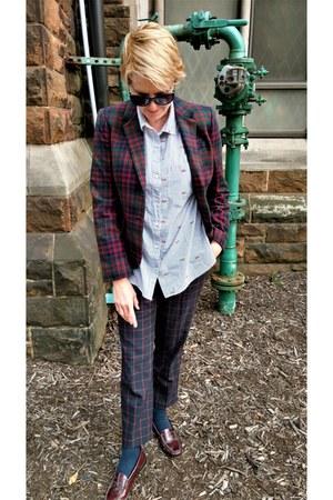 brick red plaid JCrew blazer - light blue button down Old Navy shirt