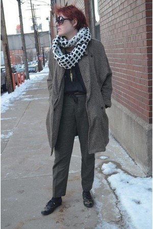 brown duster coat Willow & Clay coat - charcoal gray side-striped Zara pants