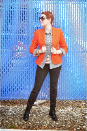 orange JCrew blazer - black Zara jeans - heather gray chambray Old Navy shirt