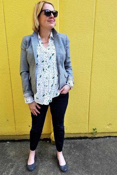 heather gray Jcrew blazer - white novelty print Anthropologie blouse