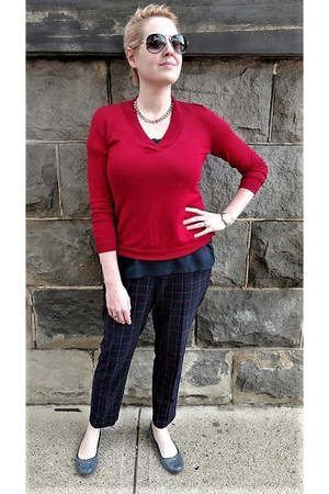 navy Uniqlo pants - ruby red Martin & Osa sweater