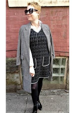 brown plaid H&M coat - black chelsea asos boots - black knit Max Studio dress
