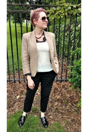 camel Zara blazer - ivory lace banana republic blouse - black Uniqlo pants