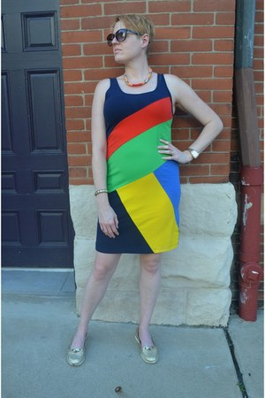 navy color block Ralph Lauren dress - gold boaters Old Navy loafers