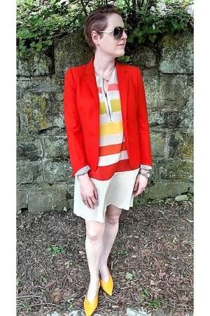 orange JCrew blazer - neutral striped BCBG dress