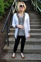 black maternity Gap pants - charcoal gray striped LuLa Roe t-shirt