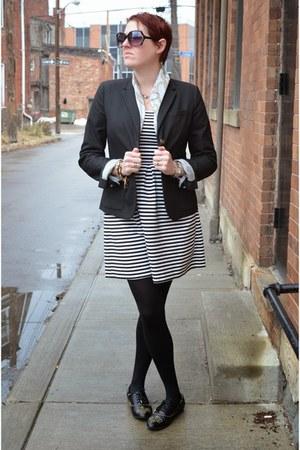 black Gap blazer - white striped JCrew dress - black studded Zara loafers
