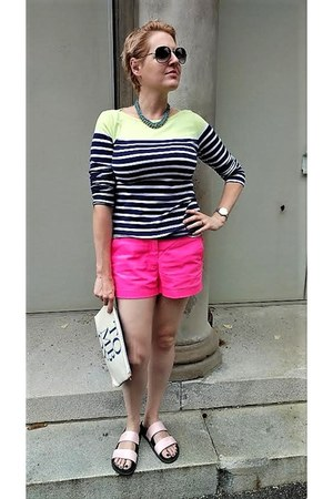 pink Zara sandals - chartreuse striped Old Navy shirt - hot pink JCrew shorts
