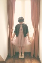 eggshell shoes - light pink H&M dress - brown giordano jacket