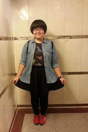 black Forever 21 shirt - ruby red Peacock shoes - blue Forever 21 jacket