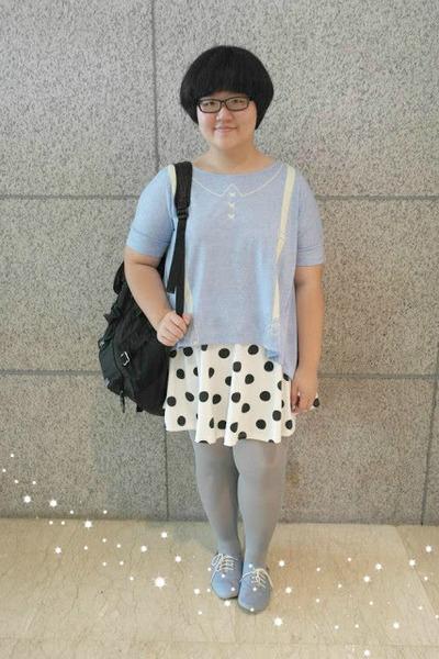 sky blue H&M shoes - silver Uniqlo tights - black bag