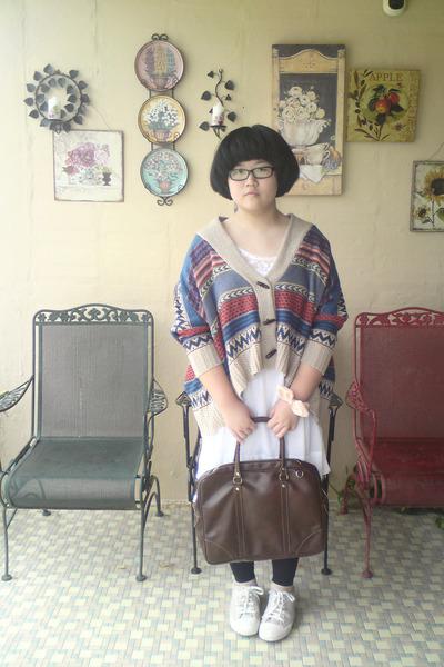 white Zara dress - black leggings - dark brown bag - camel bought online cardiga