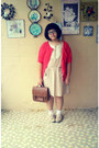 Beige-topshop-shoes-beige-afternoon-dress-brown-vintage-bag
