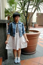 blue denim Uniqlo jacket - sky blue H&M shoes - white cotton on dress