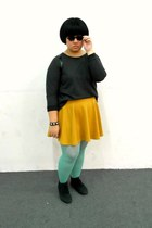 mustard cotton on skirt - black H&M shoes - turquoise blue Uniqlo tights