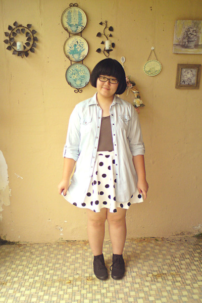 white cotton on skirt - black H&M shoes - periwinkle denim Topshop jacket