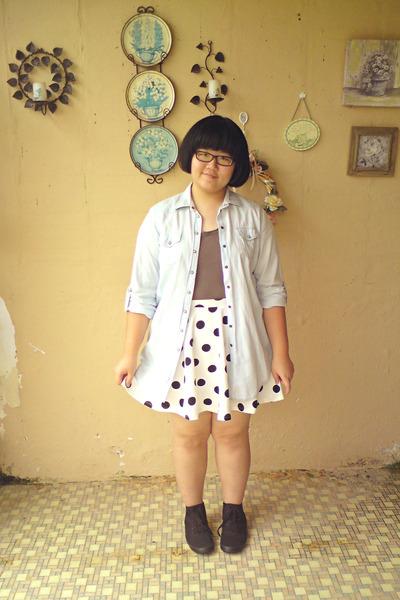 white cotton on skirt - black H&M shoes - periwinkle denim Topshop jacket
