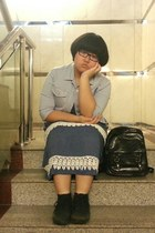 black H&M shoes - navy dress - periwinkle Uniqlo jacket - black bag