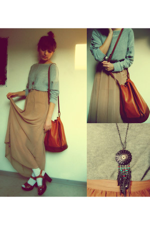 peach Topshop skirt - tawny H&M shoes