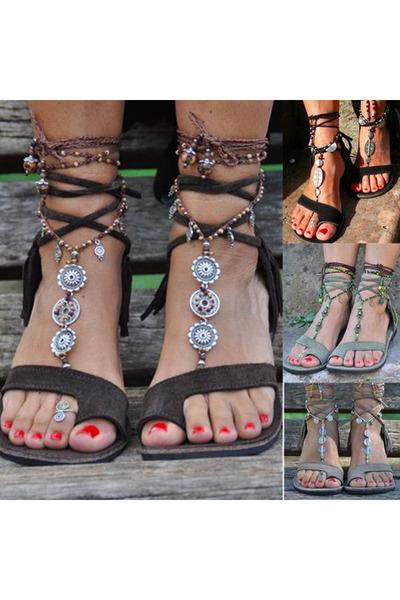 Bohemian Plain Flat Velvet Ankle Strap