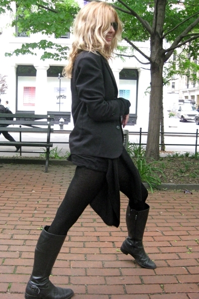 Salvation Army blazer - sweater - Banna Republic tights - Walmart boots - Ray Ba