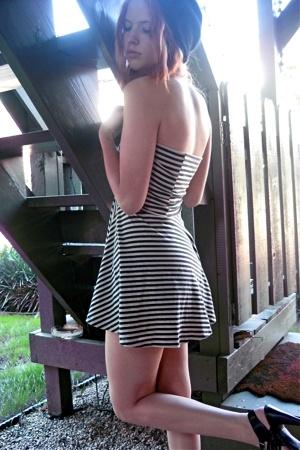black heels Target shoes - blue striped American Apparel dress
