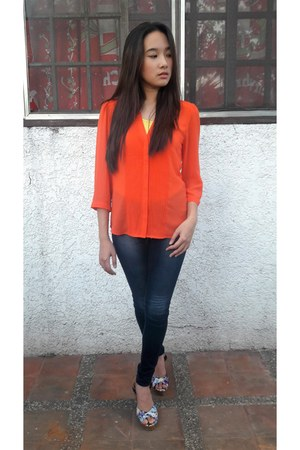 carrot orange H&M blouse - Dickies pants